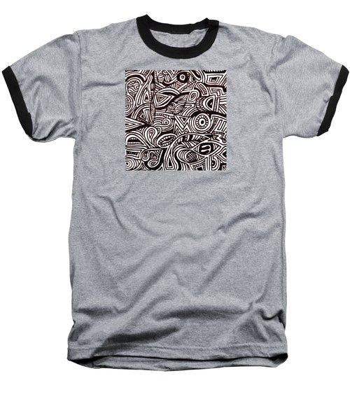 Abstract Black And White Ink Line Drawing Baseball T-Shirt by Jean Haynes