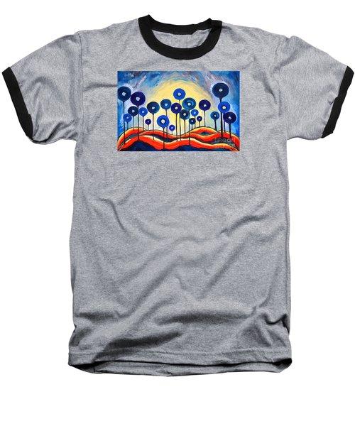 Abstract Blue Symphony  Baseball T-Shirt by Ramona Matei
