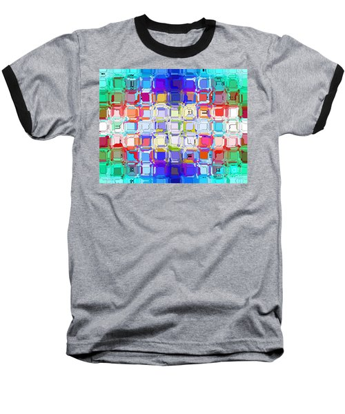 Baseball T-Shirt featuring the digital art Abstract Color Blocks by Anita Lewis