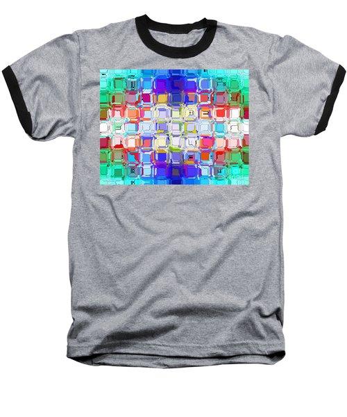 Abstract Color Blocks Baseball T-Shirt by Anita Lewis