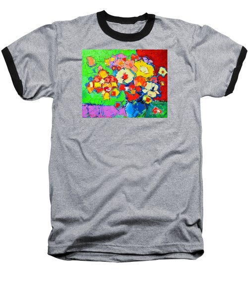 Abstract Colorful Flowers Baseball T-Shirt
