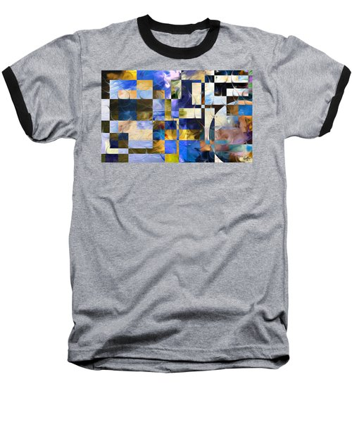Baseball T-Shirt featuring the painting Abstract In Blue And White by Curtiss Shaffer