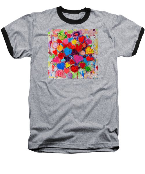 Abstract Love Bouquet Of Colorful Hearts And Flowers Baseball T-Shirt by Ana Maria Edulescu