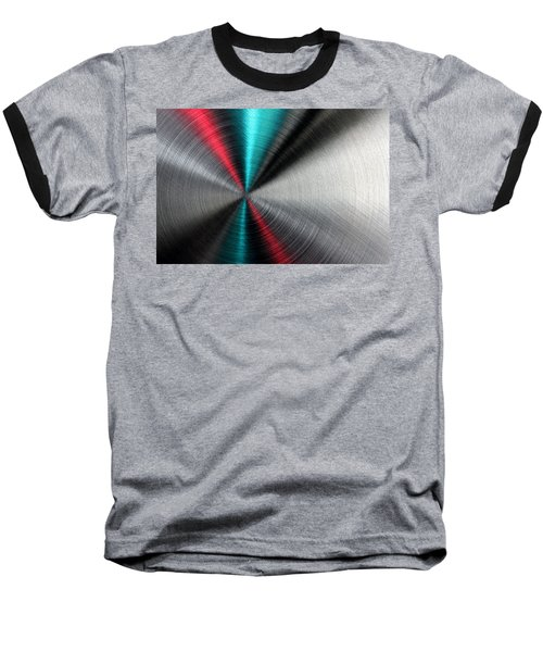 Abstract Metallic Texture With Blue And Red Ray Pattern. Baseball T-Shirt