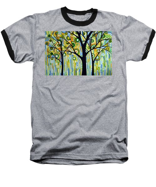 Baseball T-Shirt featuring the painting Abstract Modern Tree Landscape Spring Rain By Amy Giacomelli by Amy Giacomelli