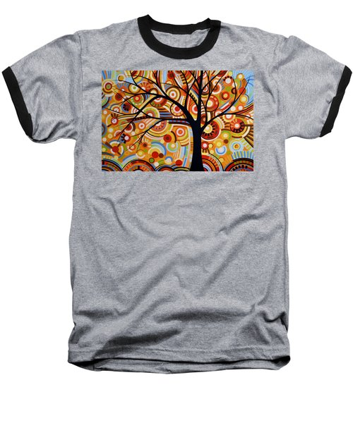 Baseball T-Shirt featuring the painting Abstract Modern Tree Landscape Thoughts Of Autumn By Amy Giacomelli by Amy Giacomelli