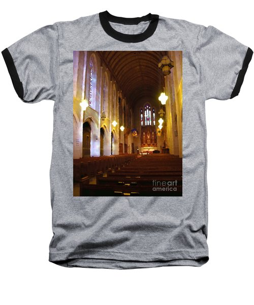 Abstract - Egner Memorial Chapel Interior Baseball T-Shirt by Jacqueline M Lewis
