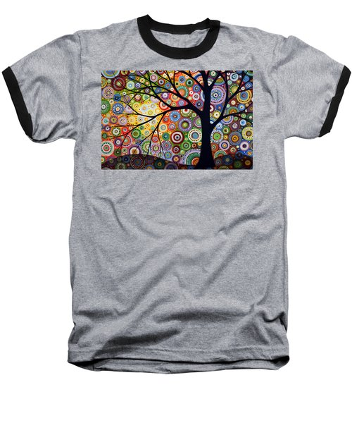 Baseball T-Shirt featuring the painting Abstract Original Modern Tree Landscape Visons Of Night By Amy Giacomelli by Amy Giacomelli