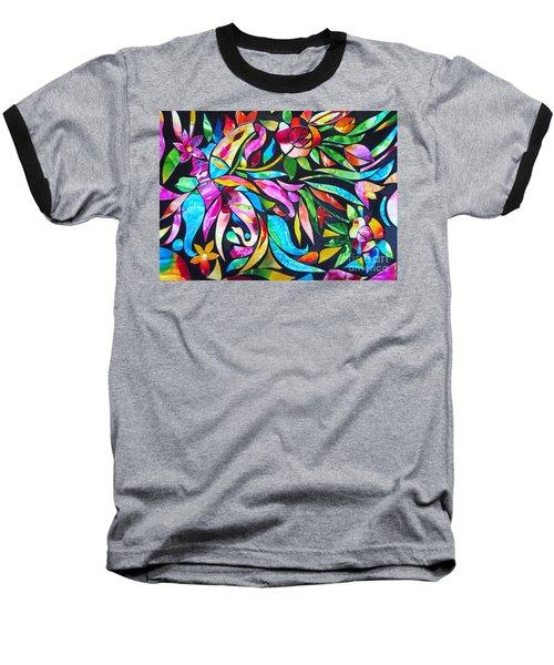Abstract Paisley And Flowers Baseball T-Shirt