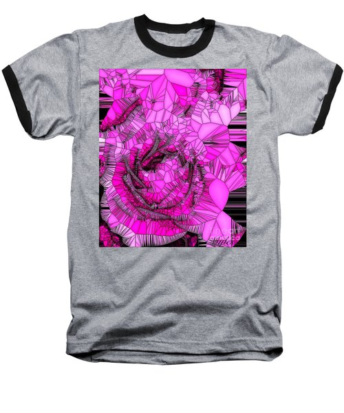 Abstract Pink Rose Mosaic Baseball T-Shirt
