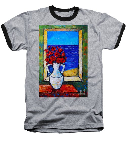 Abstract Poppies By The Sea Baseball T-Shirt