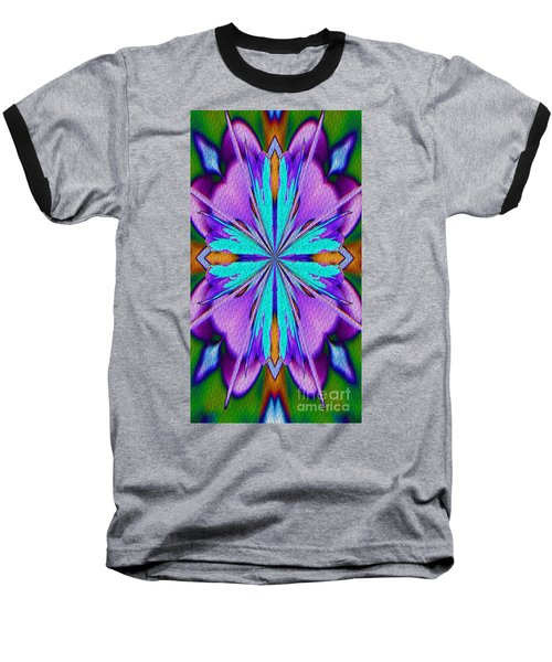 Abstract Purple Aqua And Green Baseball T-Shirt