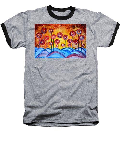 Abstract Red Symphony Baseball T-Shirt by Ramona Matei