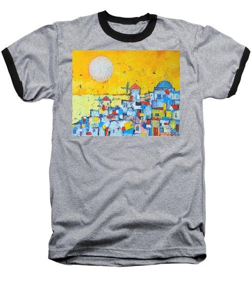 Abstract Santorini - Oia Before Sunset Baseball T-Shirt