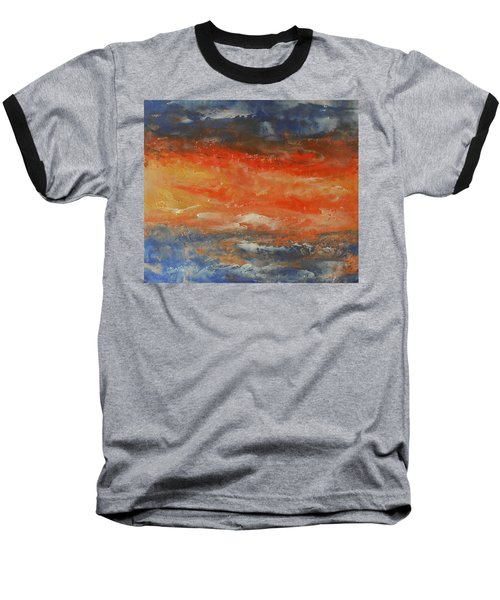 Baseball T-Shirt featuring the painting Abstract Sunset  by Jane See