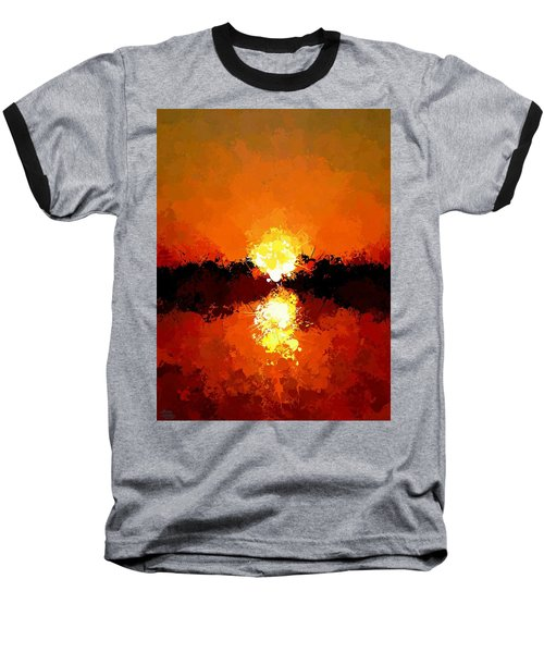 Abstract Sunset On The Sea Baseball T-Shirt