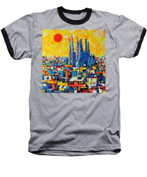 Abstract Sunset Over Sagrada Familia In Barcelona Baseball T-Shirt by Ana Maria Edulescu