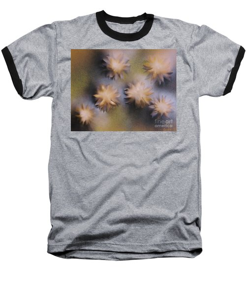 Abstract Yellow Flowers Baseball T-Shirt