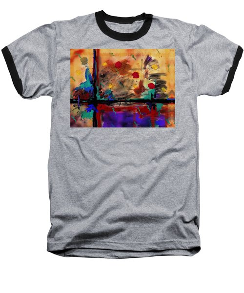 Abstract Yellow Horizontal Baseball T-Shirt