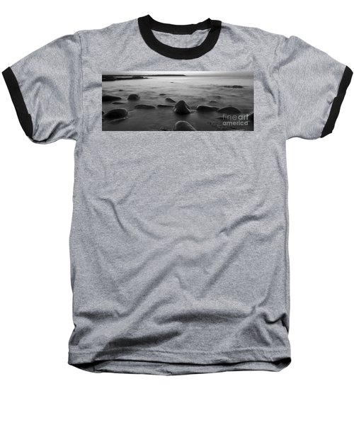Acadia National Park Shoreline Sunrise Wakeup Black And White Baseball T-Shirt