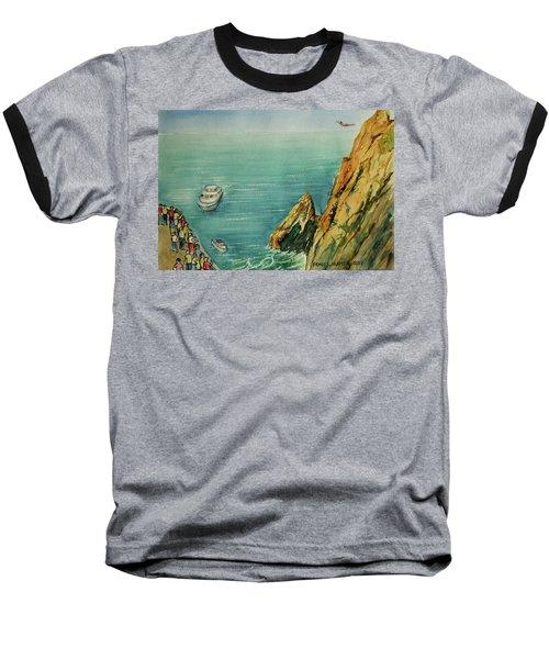 Acapulco Cliff Diver Baseball T-Shirt by Frank Hunter