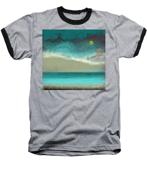 Acropolis In Moonlight Baseball T-Shirt by Carol Jacobs