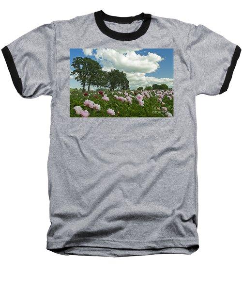 Adleman's Peony Fields Baseball T-Shirt