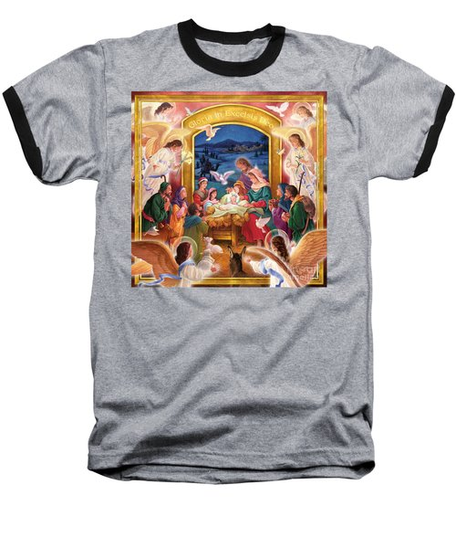 Adoring Angels Nativity Square Baseball T-Shirt