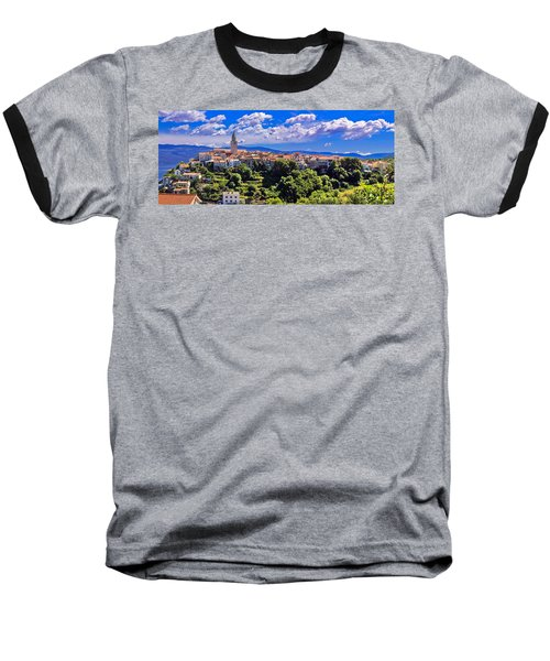 Adriatic Town Of Vrbnik Panoramic View Baseball T-Shirt by Brch Photography