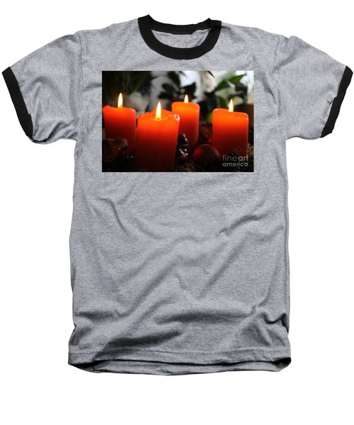 Baseball T-Shirt featuring the photograph Advent Candles Christmas Candle Light by Paul Fearn