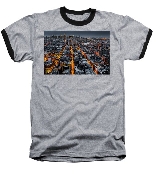 Aerial View Of New York City At Night Baseball T-Shirt