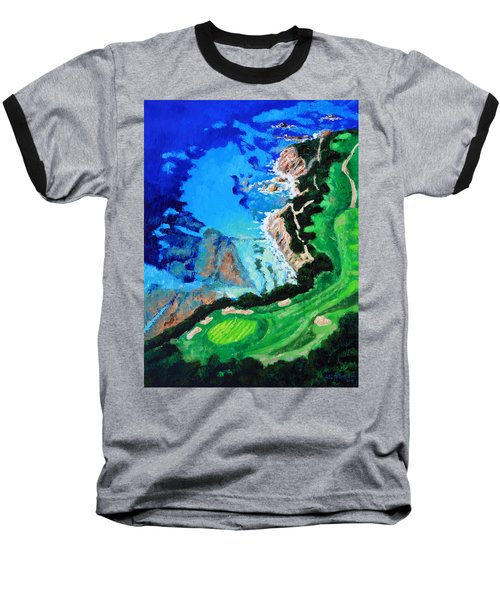 Aerial View Of Pebble Beach Baseball T-Shirt by John Lautermilch