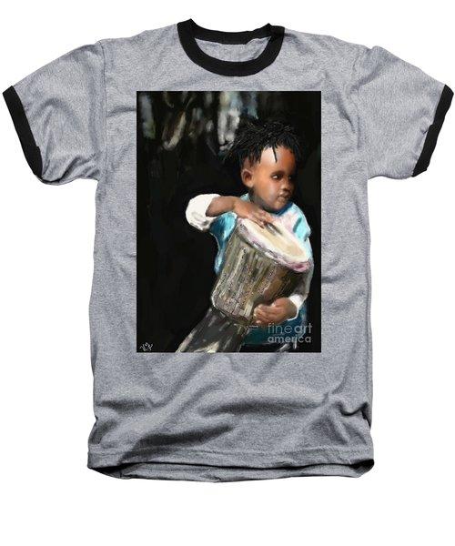 African Drummer Boy Baseball T-Shirt by Vannetta Ferguson