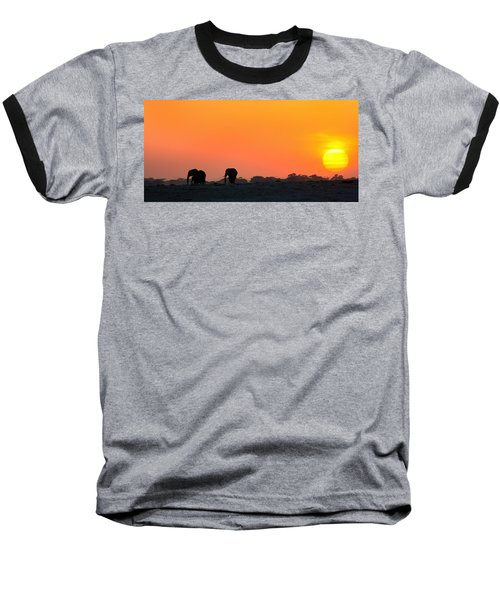 Baseball T-Shirt featuring the photograph African Elephant Sunset by Amanda Stadther