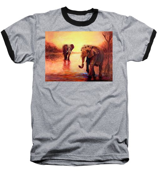 African Elephants At Sunset In The Serengeti Baseball T-Shirt