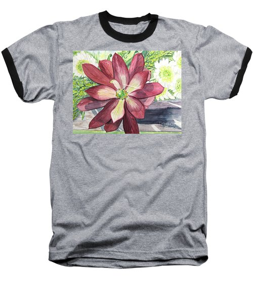 Baseball T-Shirt featuring the painting African Flower by Carol Flagg