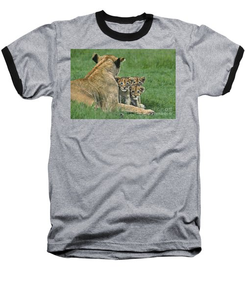 Baseball T-Shirt featuring the photograph African Lion Cubs Study The Photographer Tanzania by Dave Welling