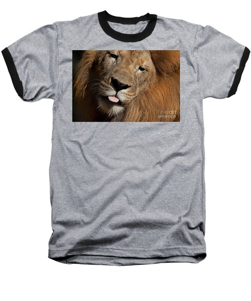 Baseball T-Shirt featuring the photograph African Lion by Meg Rousher