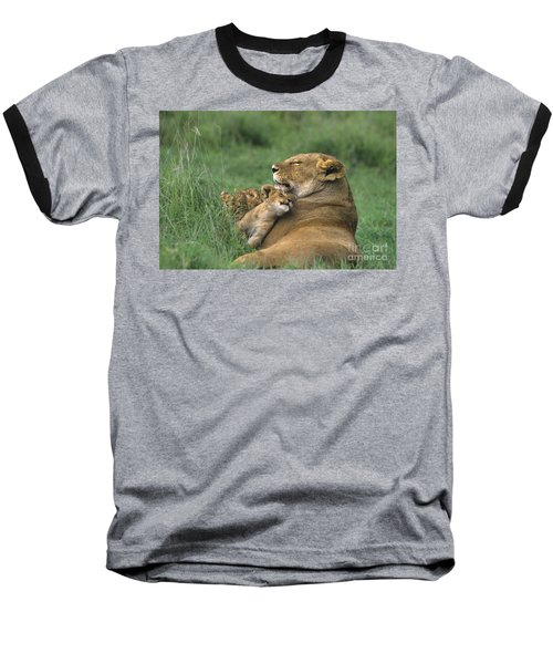 African Lions Mother And Cubs Tanzania Baseball T-Shirt by Dave Welling