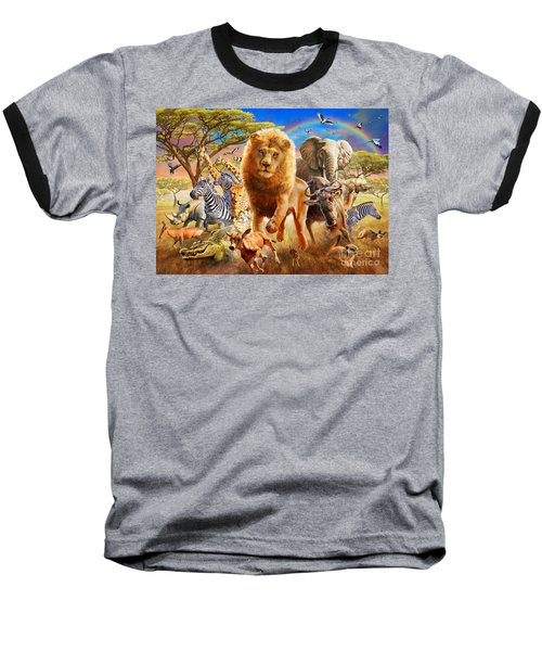 African Stampede Baseball T-Shirt by Adrian Chesterman