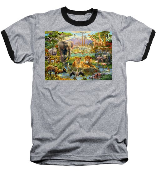 African Watering Hole Baseball T-Shirt