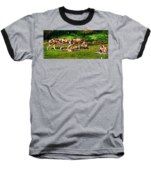 African Wild Dog Family Baseball T-Shirt