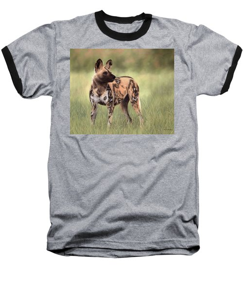 African Wild Dog Painting Baseball T-Shirt