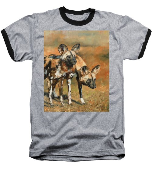 African Wild Dogs Baseball T-Shirt by David Stribbling