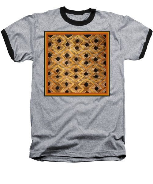 Baseball T-Shirt featuring the digital art African Zaire Congo Kuba Textile by Vagabond Folk Art - Virginia Vivier