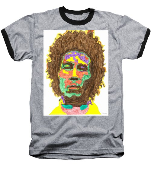 Baseball T-Shirt featuring the painting Afro Bob Marley by Stormm Bradshaw
