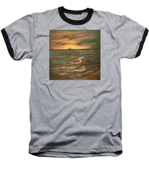 Baseball T-Shirt featuring the painting After Sunset  by Laila Awad Jamaleldin