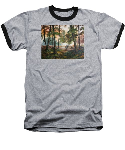 Baseball T-Shirt featuring the painting Afternoon Ride Through The Forest by Jean Walker