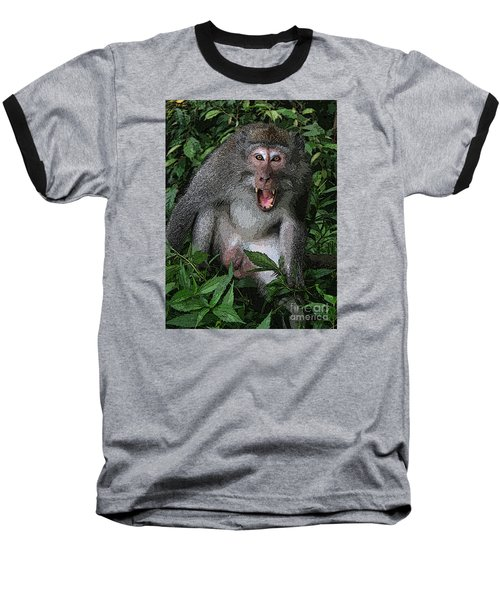 Baseball T-Shirt featuring the photograph  Aggressive Monkey From Bali by Sergey Lukashin