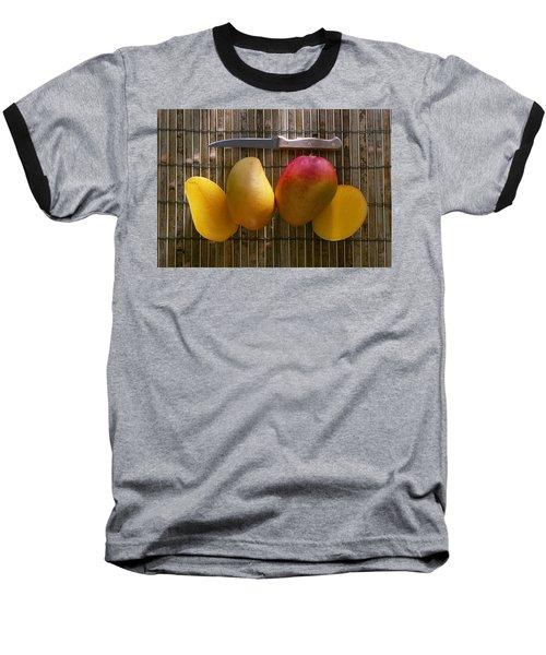 Agriculture - Sliced Sunrise Mango Baseball T-Shirt by Daniel Hurst